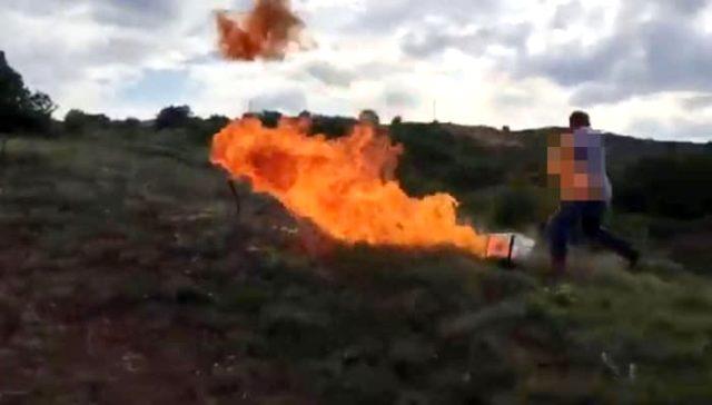 Çankırı'da gözaltına alınmak istemeyen hükümlü üzerine tiner dökerek kendini ateşe verdi