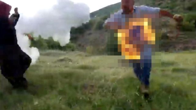 Gözaltına alınmak istemeyen hükümlü üzerine tiner dökerek kendini ateşe verdi